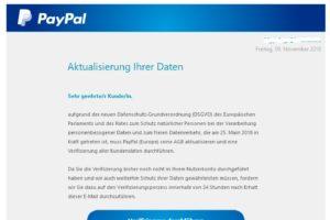 """PayPal-Phishing: """"Bitte beachten: Ihre Daten müssen aktualisiert werden"""""""