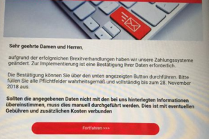 """Sparkasse-Phishing: """"aufgrund der erfolgreichen Brexitverhandlungen"""""""