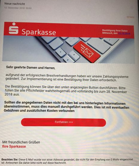 Sparkasse-Phishing (Screenshot)