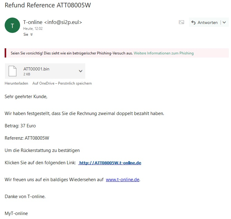 T-online-Phishing (Screenshot)