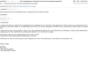 Achtung, Virus-Mahnung der mPay24 AG!