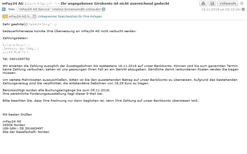 Achtung Virus Mahnung Der Mpay24 Ag Anti Spam Info