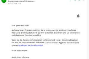 Achtung, Apple-Phishing: Re : [Apple deaktiviert]