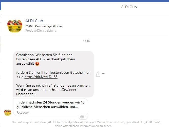 Aldi Club: kostenloser ALDI-Geschenkgutschein (Screenshot)