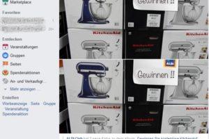 Achtung, Fake: ALDI Club verlost Kitchenaid-Mixer auf Facecook