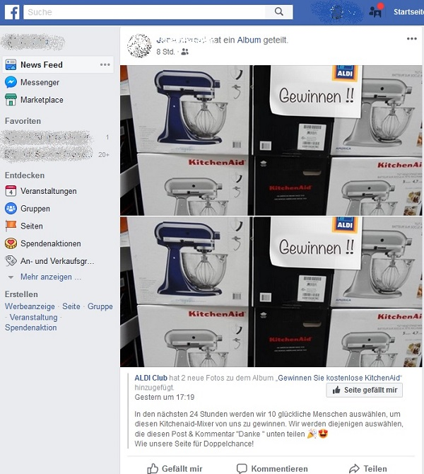 Fake-Gewinnspiel: Aldi Club (Screenshot)