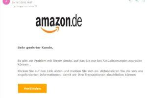 """Amazon-Phishing: """"Es gibt ein Problem mit Ihrem Konto…"""""""