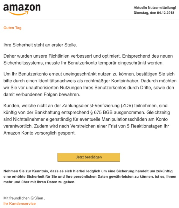 Amazon-Phishing - Vorsicht! (Screenshot)