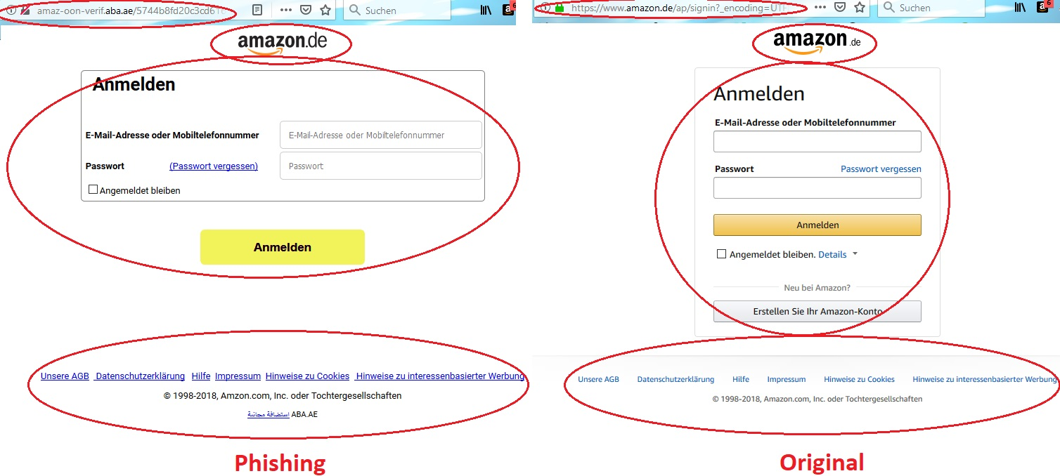 Amazon: Original und Fake-Vergleich (Screenshot)
