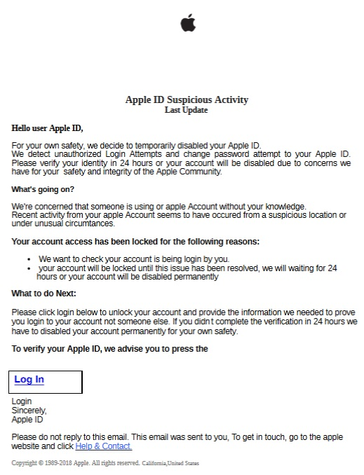 Apple ID Suspicious Activity (Screenshot)