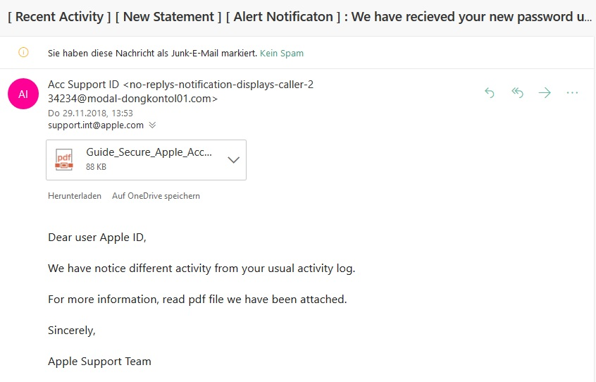 Apple-Phishing: Acc Support ID (Screenshot)