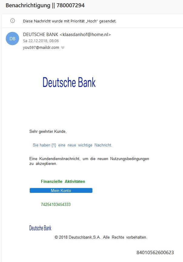 Deutsche Bank Phishing Benachrichtigung 780007294 Anti Spam Info