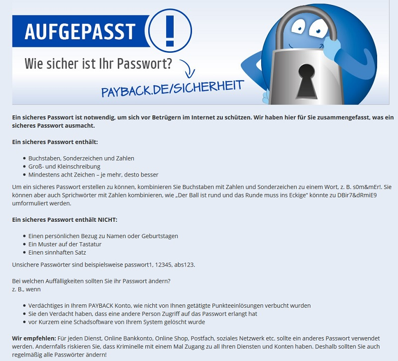 Payback warnt vor Payback-Phishing (Screenshot payback.de)