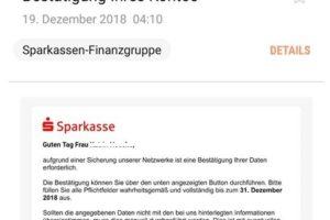 Sparkasse-Phishing: Datenbestätigung wegen Netzwerk-Sicherung?