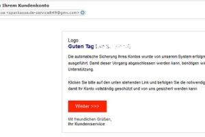 """Sparkasse-Phishing: """"Information zu Ihrem Kundenkonto"""""""