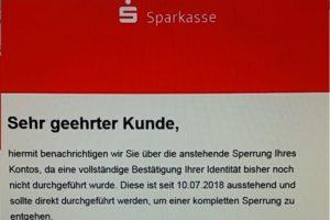 "Sparkasse-Phishing: ""Anstehende Sperrung Ihres Kontos"""