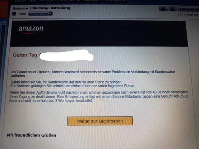 "Amazon-Phishing: ""Auf Grund neuer Updates..."" (Screenshot)"