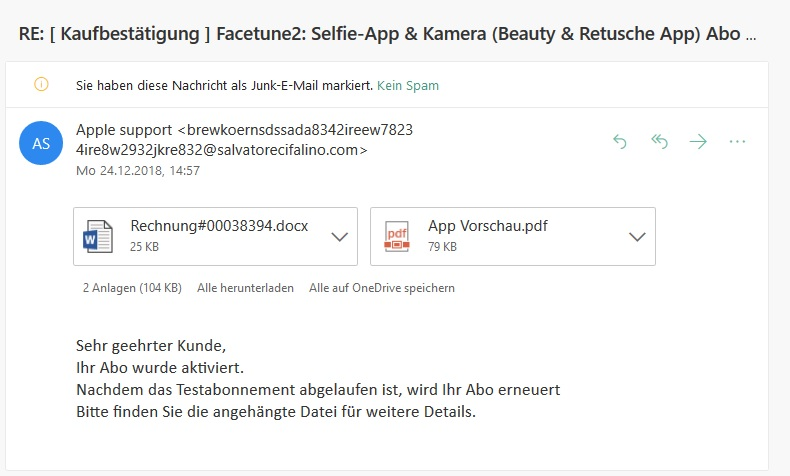 Apple-Phishing Kaufbestätigung Facetune2 (Screenshot)