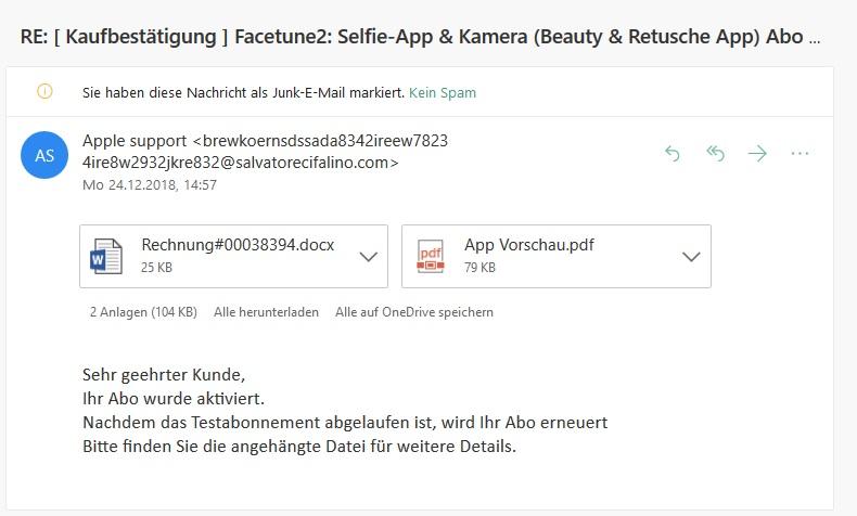 Apple-Phishing Kaufbestätigung Facetune2 (Screenshot)