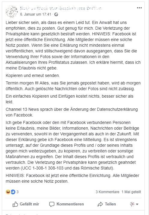 """Facebook-Hoax: """"Ein Anwalt hat uns empfohlen, dies zu posten"""" (Screenshot)"""