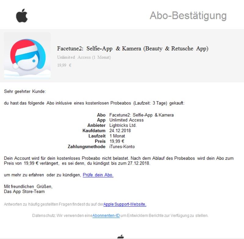 Fake-Abo-Bestätigung im Namen von Apple (Screenshot)