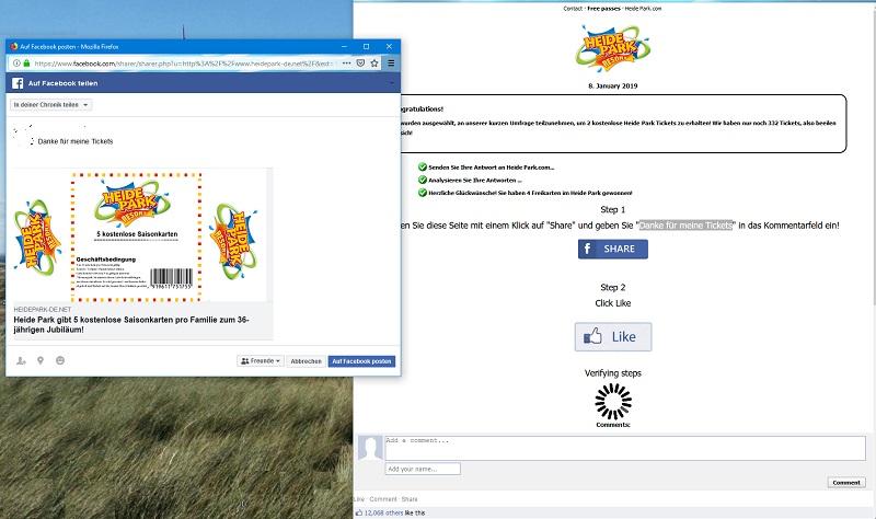Fake Heide Park Gewinnspiel (Screenshot)