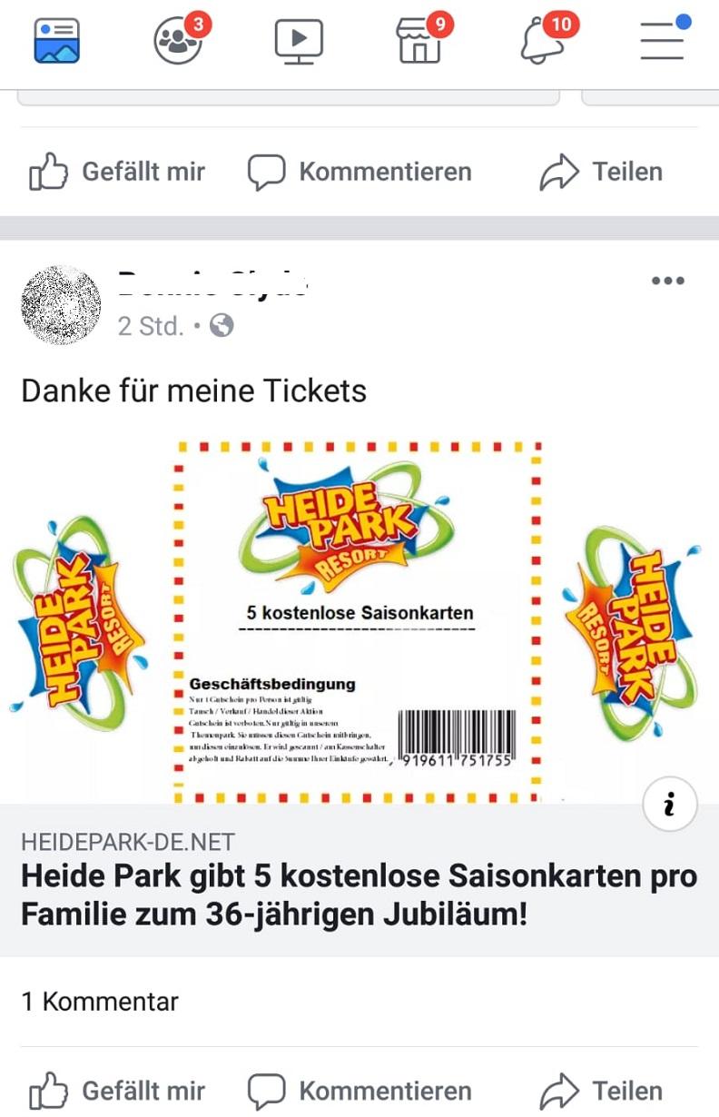 Fake: Heide Park Saisonkarten Gewinnspiel (Screenshot Facebook)
