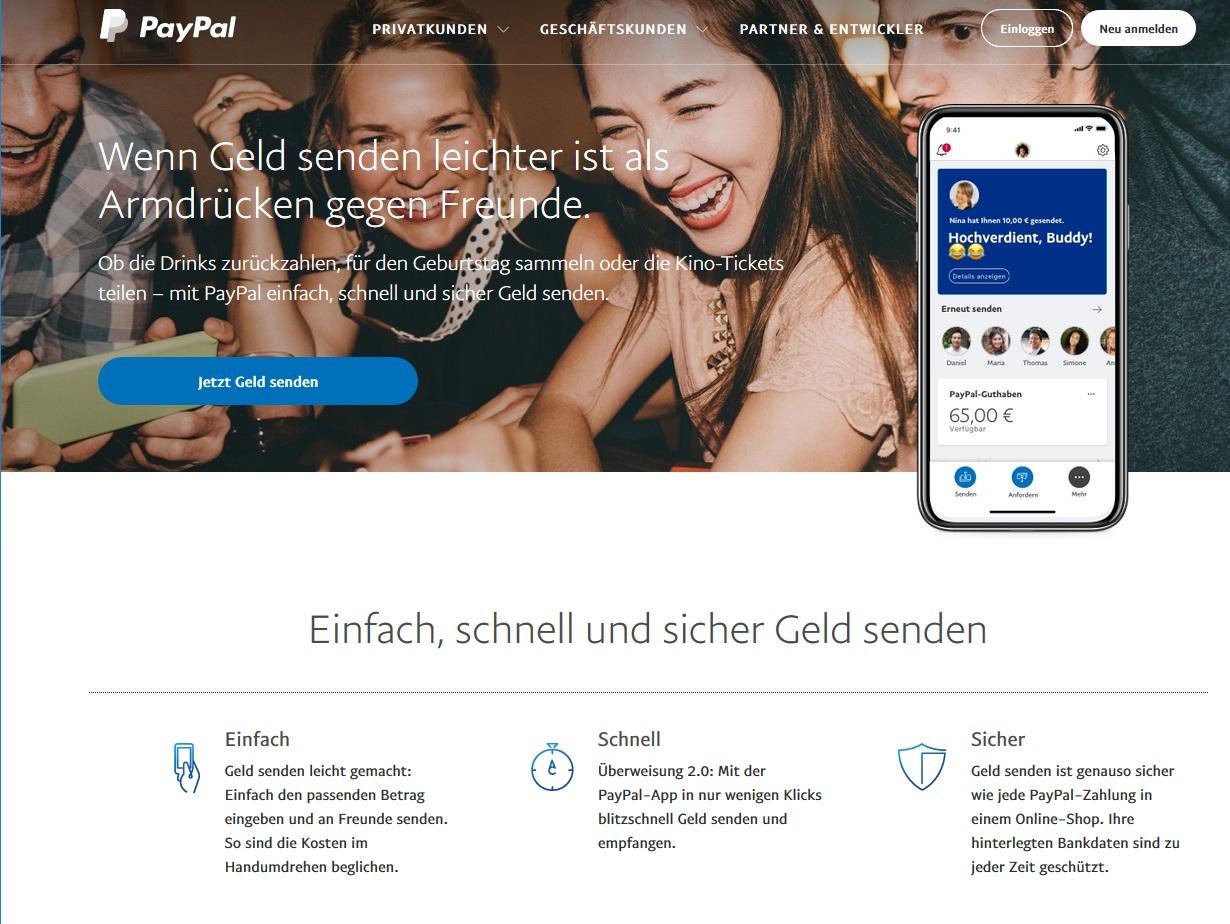 "PayPal ""Freunde & Familie"" - Vorsicht! (Screenshot paypal.com)"