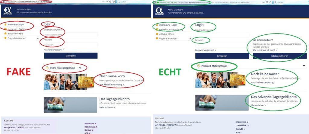 Advanzia-Log-In: Fake und Echt (Screenshots)