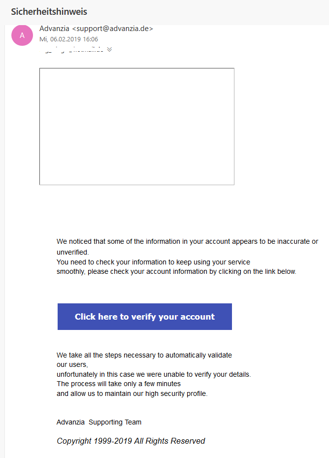 Advanzia-Phishing: Sicherheitshinweis (Screenshot)