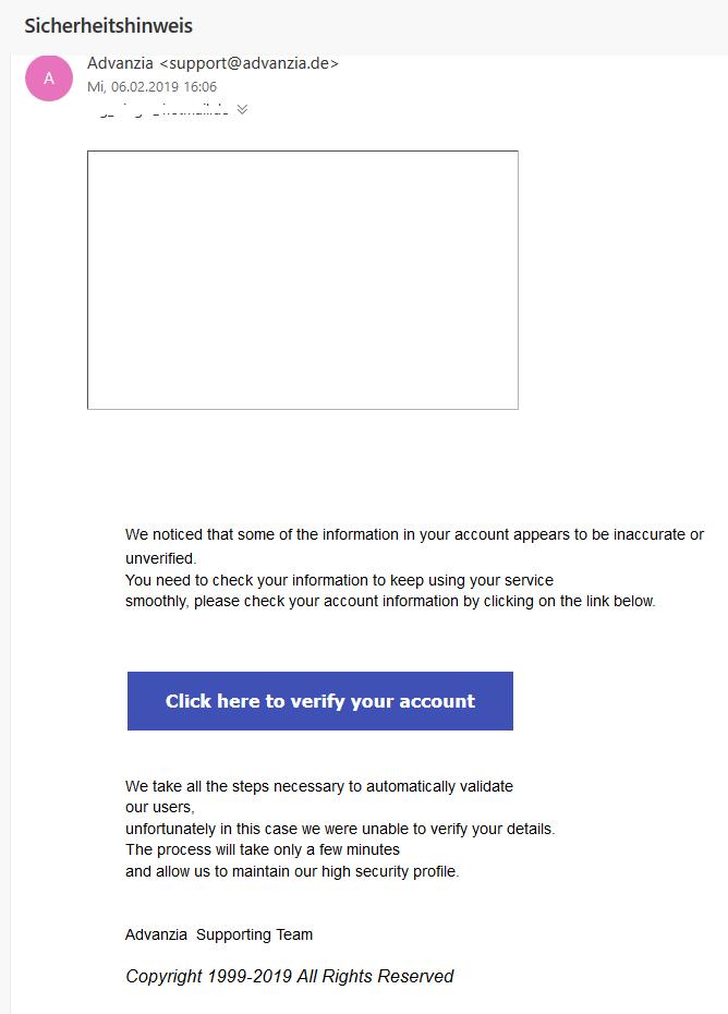 Advanzia-Phishing: Sicherheitshinweis (Screenshot)