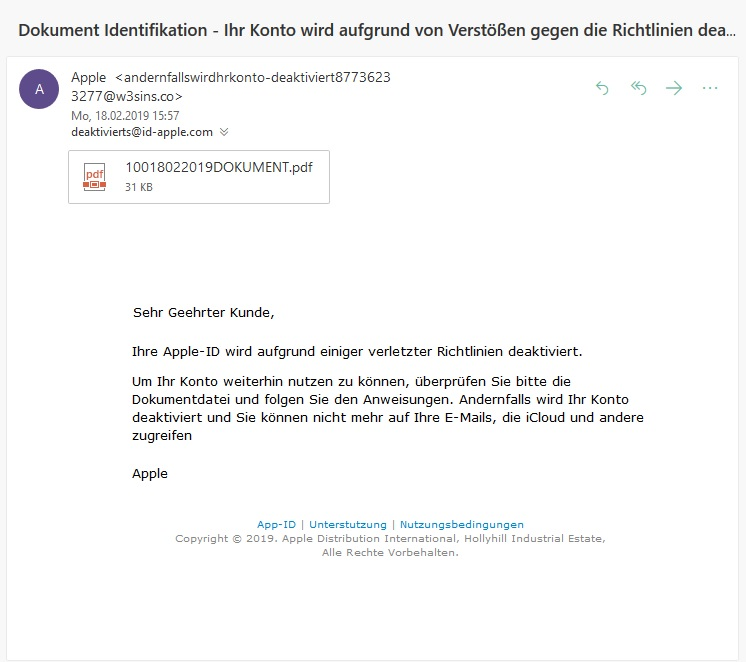 Kreatives Apple-Phishing (Screenshot)