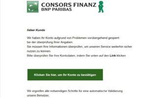 Consors Finanz BNP.-Phishing: Vorsicht!