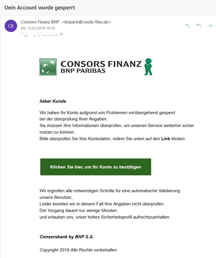 Consors Finanz BNP.-Phishing (Screenshot)