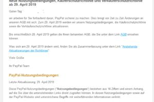 """Kein PayPal-Fake: """"Die AGB von PayPal ändern sich"""""""