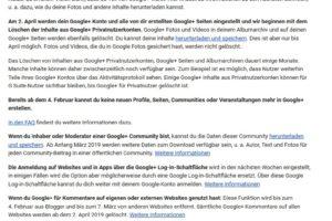 Dein privates Google+ Konto wird am 2. April 2019 gelöscht