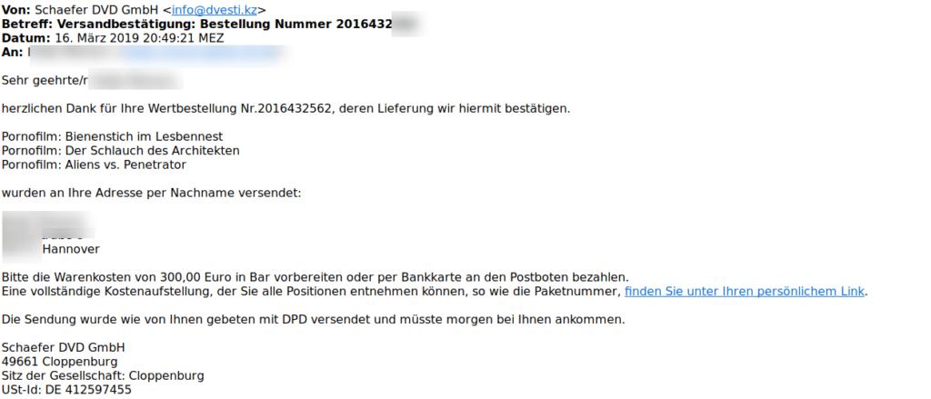 Versandbestätigung für Porno-DVD (Screenshot polizei-praevention.de)