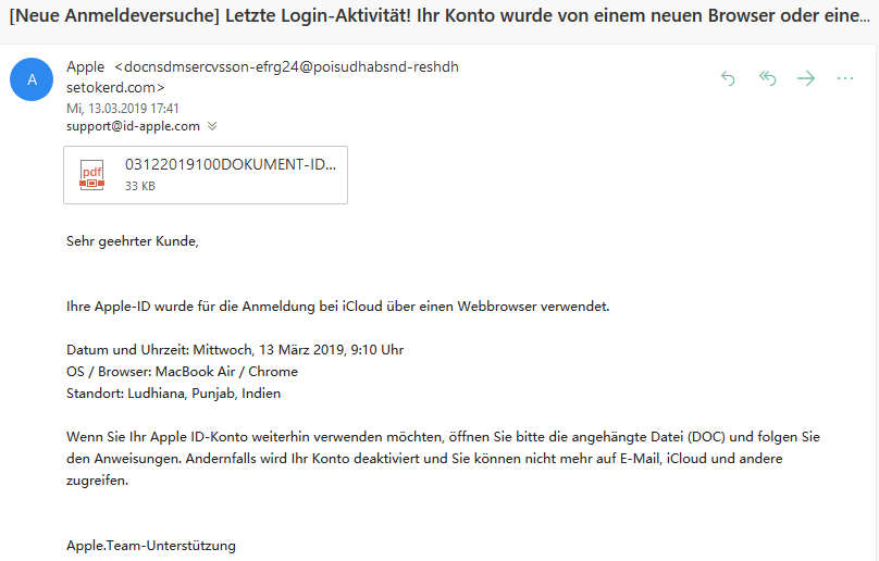 Apple-Phishing - Vorsicht! (Screenshot)
