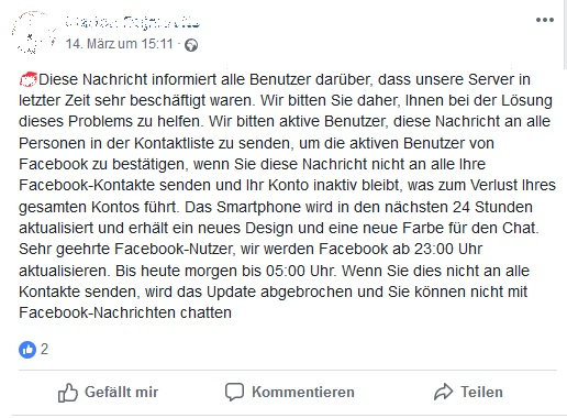 Facebook-Hoax (Screenshot)