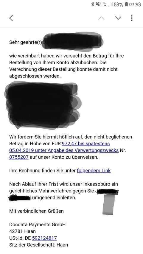Fake-Docdata-Rechnung (Screenshot)