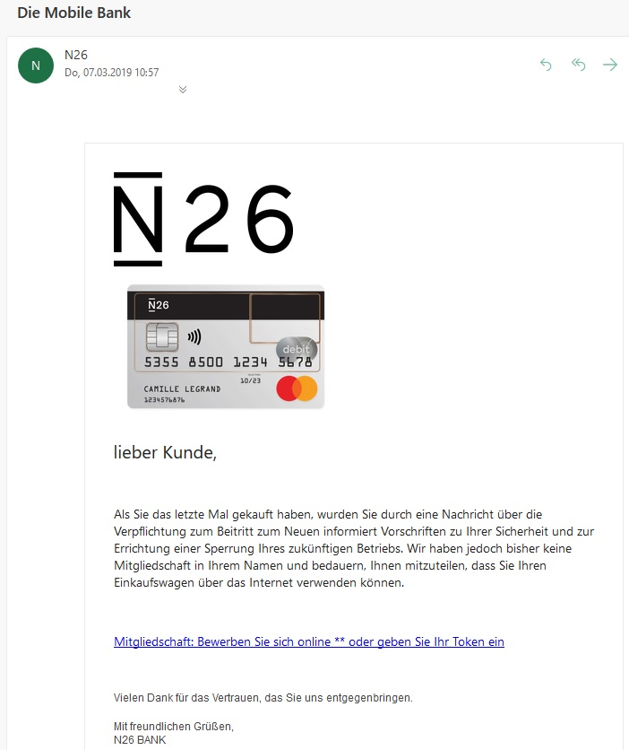 Vorsicht - N26-Bank-Phishing! (Screenshot)