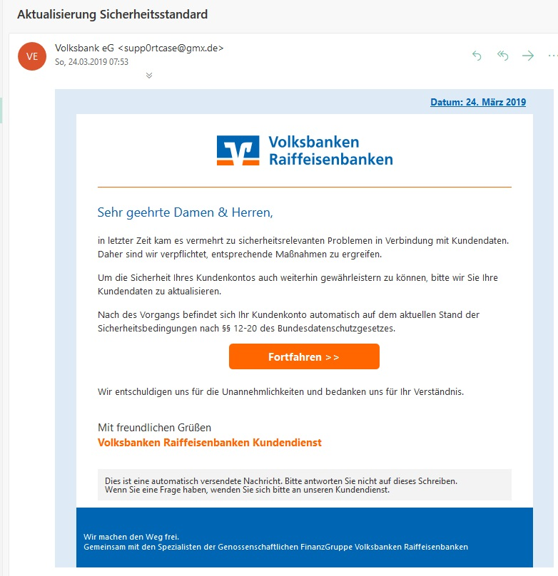 Volksbank-Raiffeisenbanken-Phishing (Screenshot)