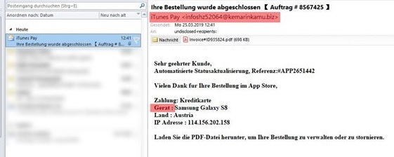 iTunes Pay - Virus (Screenshot)