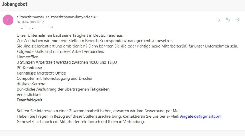 Jobangebot per E-Mail (Screenshot)