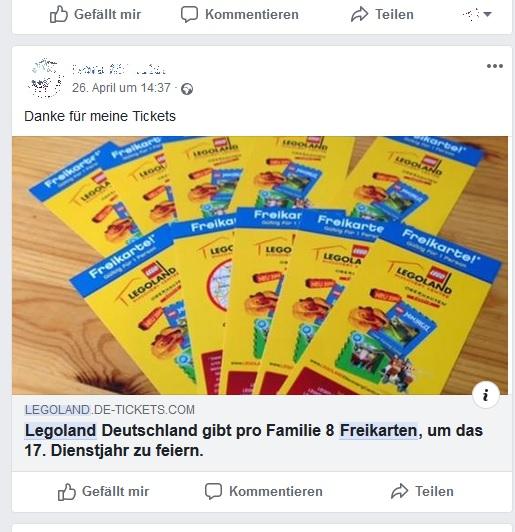 Legeoland-Freikarten: Wieder nur ein Fake! (Screenshot)