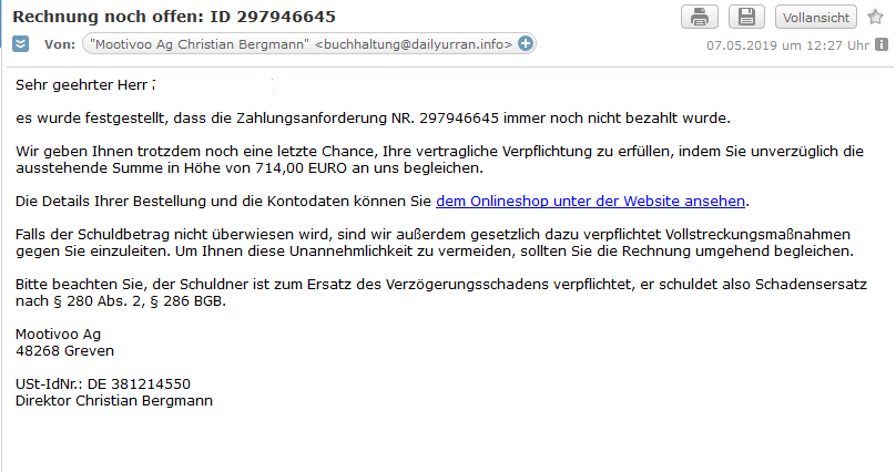 Fake-Mahnung der Mootivoo Ag (Screenshot)