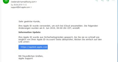 Achtung, Apple-Phishing (Screenshot)
