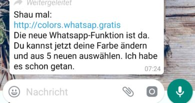 WhatsApp-Farben: Achtung, Fake! (Screenshot spam-info.de)