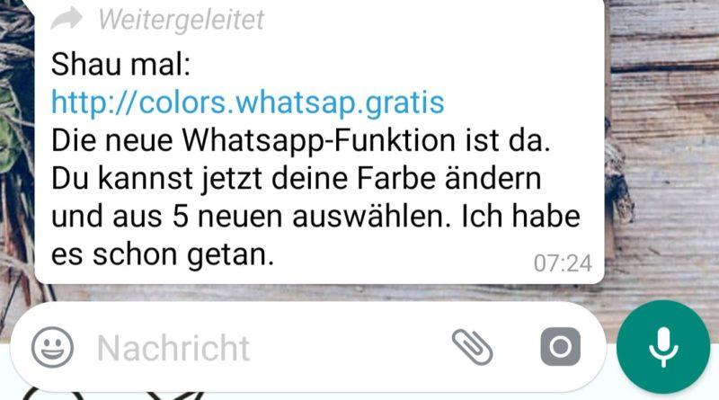 WhatsApp-Farben: Achtung, Fake! (Screenshot spam-info.de)