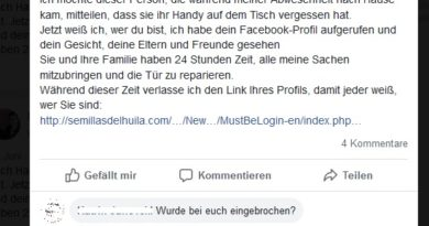 Phishing-Falle Facebook-Posting (Screenshot)